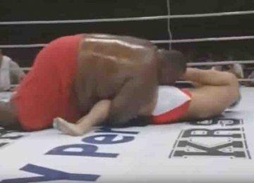 """מה קורה כאשר סומו במשקל 273 ק""""ג נלחם מול לוחם קיקבוקסר במשקל 76 ק""""ג"""