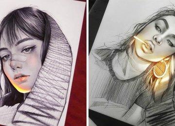 אמן מצייר בעיפרון והציורים שלו מלאי חיים