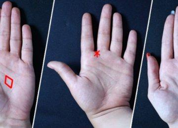 הביטו בכף היד שלכם. משולש, כוכב ומעוין יכולים לומר הרבה על הגורל שלכם