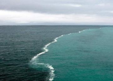 מה הסיבה לצבע המים השונה במפגש האוקיינוסים במפרץ אלסקה?